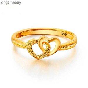 Vietnam Plated Double Sable Gold Heart Bague d'amour, accessoires, bague d'ouverture dépolée