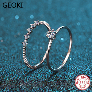 Geoki 925 Sterling Silver Passed Diamond Test Perfect Cut 0.2 ct VVS1 Good Color Moissanite Rings Sets for Women Trendy Jewelry 201116