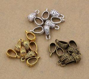 Connettore calda! 150pcs d'argento antico / oro / bronzo di zinco del triangolo della lega Pendant Bail Chiusure 7x17mm