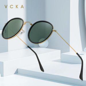 VCKA Round Retro Sonnenbrille Frauen polarisierten Gläser Frauen / Männer Kleine Spiegel Gafas UV400 Metall Brillen