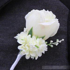 Оптовая Свадебная бутоньерка в Ivory Фиолетовый Белый Blue10 Цвет Aavailable Groom Pin Брошь Роза корсажем костюм цветок аксессуары