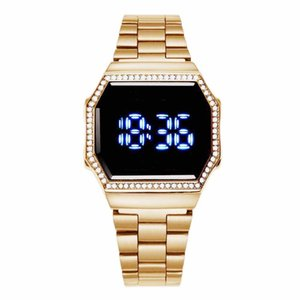 Hot sale casual fashion diamond LED digital ladies watch iced out watch steel belt touch watch