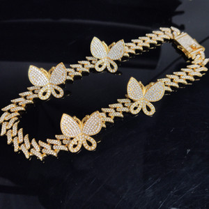 14mm Thorny Iced Out Diamond Necklaces Women Chains Jewelry Cuban Link Necklaces Chain Gold Silver Pink Butterfly Necklaces