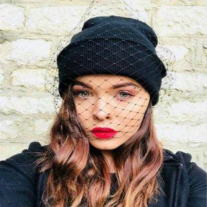 Femmes Veil Rétro Princesse Chapeau Beanies Lady vintage casquette de Gaze Voile Chapeau tricoté femmes Rue snap