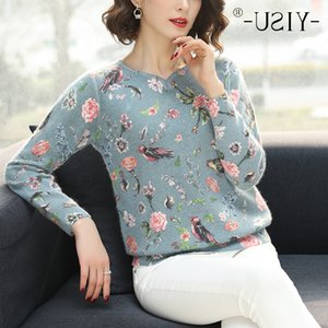 YISU Printed Women 2019 Autumn Winter Fashion Floral bird pattern Pullover Casual Loose long Sleeves Sweater