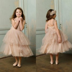 Sweet Square Neck Flower Girl Dresses Ruched A-Line Tulle Tea-Length Champagne Pageant Dresses Girl New Designer