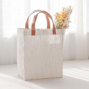 Alta qualidade estilo japonês algodão e linho mão segurando o saco de compras armazenamento Bento bolsa de lona impermeável unisex agregado familiar eco-friendly saco