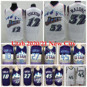 Mens Utah Basketball Jerseys Donovan Mitchell 45 Rudy Gobert 27 Mike Conley 10 John Stockton 12 Karl Malone 32 Camisetas de baloncesto retro S-XXL