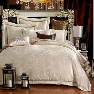 New Silk Cotton Satin Luxury Jacquard Bedding Set Hollow Lace Bedset bedclothes Duvet cover Bed sheet Pillow case Queen King 4p1