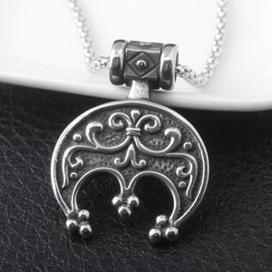 SG Vintage Norse Vikings Slavic Lunula Necklace Crescent Moon Pendants Choker Odin's Runes Keyring For Men Women Jewelry Gift
