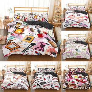 HomeSky Make-up Lippenstift Luxus Bettwäsche Set Kosmetik Rosa Bettdecke Girls Frauen Bett Set Heimtextilien Bettwäsche 3/4 stücke 201127