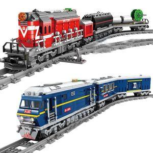 2019 NEW City Train Power-Driven Diesel Rail Train Cargo With Tracks Set Model Technic Building Blocks Toys for Children 1008