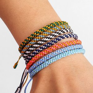 Handmade Knots Rope Bracelet Multi Color Bohemian Tibetan Woven Rope Bracelet Lucky Rope Braided Bracelets For Women Men Jewelry 117 J2