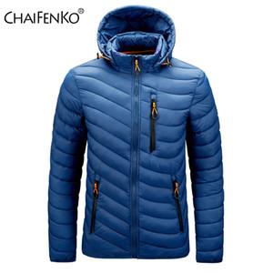 CHAIFENKO العلامة التجارية شتاء دافئ للماء 2020 جديد الخريف سميكة مقنع ستر أزياء الرجال عادية سليم معطف سترة الرجال