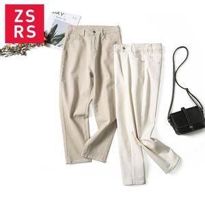 Zsrs Cotton White Harem Jeans for Women High Waist Mom Jeans Spring 2020 New Plus Size Women Denim Pants beige