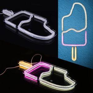 IP54 Ice Cream LED неоновый знак Акриловая USB Light Beer Bar Спальня Wall Decor Art Xmas Party Gift 200929