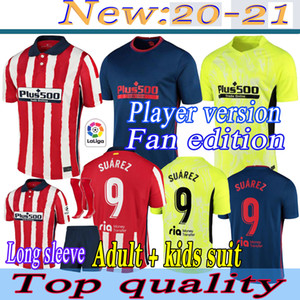 Joao Felix Atletico Madrid Soccer Jerseys 2020 2021 Saul Camisetas Suarez Llorente Correa Chemise de football Mens Long Jersey Kit enfants