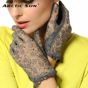 Hot Sale Medival Lolita Women Lace Genuine Leather Gloves Unlined Nappa Lambskin Wrist Sunscreen Glove Free Shipping L095N 201023