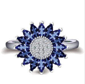 2018 Vintage Fashion Jewelry 925 Silver Fill Marquise Blue Sapphire CZ Diamond Claw Sunflower Eternity Wedding Band Ring for Women Gift