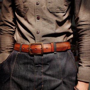 Cintura Brass Handmade Simple Big Heuptas Leather Luxury Cinto Belt Men's Men Tooling Jeans Masculino Krbxi