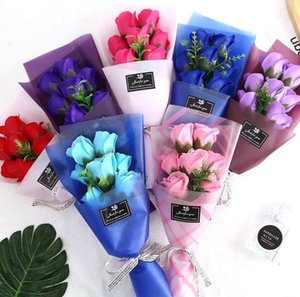 Creative 7 small bouquets of rose flower soap flower For Wedding Valentines Day Mothers Day Teachers Day Gift Decorative Flowers SN1864