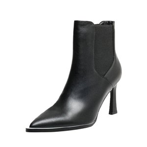 Genuine Leather Ladies Ankle Boots blastic band High Heels Shoes Women Wedding Party dress Shoes Woman