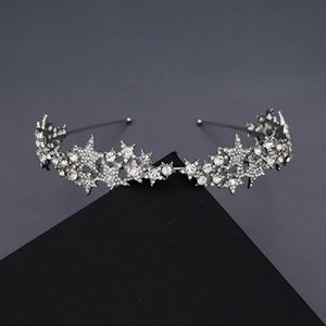 Unique Stars Princess Crown for Bridal Wedding Hair Accessories Beaded Tiaras Hair Jewelry barette cheveux H450
