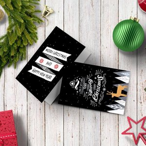 6pcs Christmas Invitation Card Black Merry Christmas Greeting Cards Christmas Gift Postcard Xmas Party Supplies Customizable