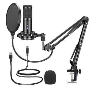 مكبرات الصوت مكثف مكثف USB ميكروفون الكمبيوتر كيت مع حامل ذراع قابل للتعديل جبل ل YouTube Live Stream1