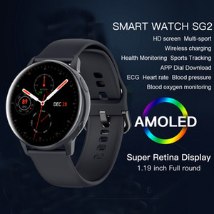 Sg2 Full Touch Amoled 390*390 Hd Screen Ecg Smart Watch Men Wireless Charing Ip68 Waterproof Heart Rate Bt 5.1 Smartwatch Pk Gt2