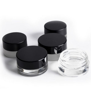 shatter packaging Non Stick 3ml 5ml Clear Glass Jars with Black Lid Wax Concentrate Container Dab Jars