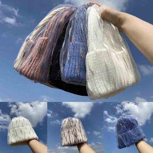 new Women Winter Warm Knitted Beanie Hat Leaves Mesh Veil Stretch Cuffed Skull Cap