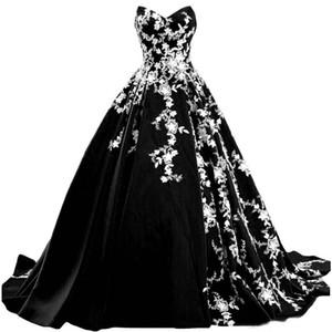 Weinlese-gotische Schwarzweiß-Brautkleider 2021 Schatz-trägerloser Garten Land Braut Brautkleider Sweep Plus Size Braut Kleid
