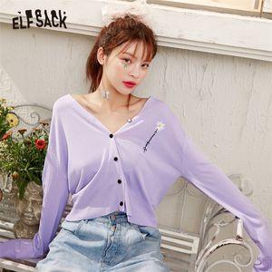 Elfsack Lavender Solid Daisy Fleurs Simple Castry Casual Femmes Cardigan Summer Black Coréen Girly Daily Top Y200917