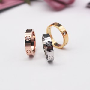Rose Gold Stainless Steel love Ring With Crystal For Woman Jewelry Rings Men Wedding Promise Rings For Female Women Gift Engagement with bag