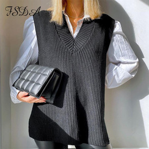 FSDA 2020 Black Sleeveless Vest Sweater Knitted Women Casual Autumn Winter White Jumper Fashion Oversized Pullover Loose