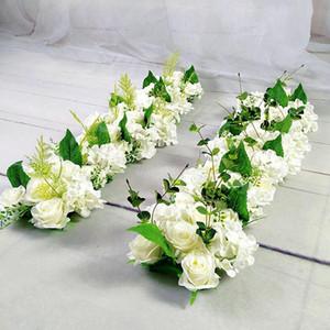 Luxus Hochzeitstraße Zitierte Blumen Seide Rose Pfingstrose Hortensie DIY WOCHED Tür Blume Reihe Fenster T Station Hochzeit Dekoration 50 cm