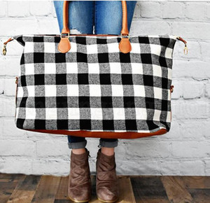 Ooa6384 Handbag Black With Check Bags Large Maternity Handle Travel Pu Bags Plaid Tote Red Capacity Buffalo Storage sqcOt sports2010