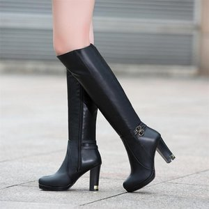 Gigifox 2020 On Sale Large Sizes 43 High Heels Knee High Boots Women Shoes Platform Concise Comfy Zip Up Shoes Lady Boots