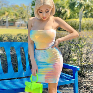 2020 Fashion New Womens Cami Top High Waist Skirt Suit Fashion Tie dye Exposed Navel Suspender Top and Skinny Hip Midi Skirt
