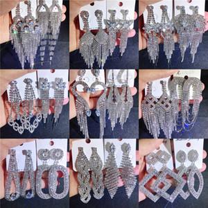 Mix nappa lunga ciondola gli orecchini di goccia Strass intarsiato Artiglio catena orecchini gioielli delle donne Dichiarazione orecchini 7 3RC G2B