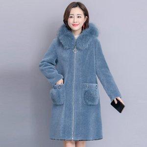 WYWAN Kürk yaka bayan ceket moda kadife ceket kadınlar orta boy kış 2020 yeni kadın coatX1020