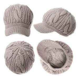 100% Merino Wool Newsboy Cap Winter Hat Visor Beret Cold Weather Knitted