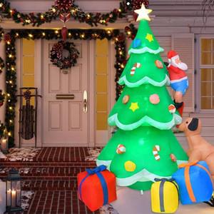 2.1m рождественской елки Надувные куклы Собака Укусы Санта-Клауса лазить по деревьям Надувной Санта-Клауса с яркой LED огни декора
