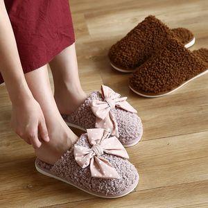 Kadınlar Kış Çift Terlik Bayanlar Kelebek Düğüm Katı Kuzu Yün Terlik Şeker Renk Sevimli Kapalı Rahat Yumuşak Rahat Ayakkabılar # 2B5V