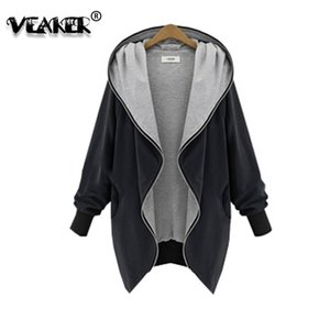 New Women Casual Hooded Jacket Autumn Zipper Outerwear Basic Coat Solid Fashion Batwing Sleeve Loose Jacket Plus Size M-5XL 201007