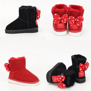 2020 New Winter Boots Girl Black Red Shoes Cute Bow knot Kidsuggs Children Snow Boots Cowhide Leather Boots Warm Eur 24-35 900W#