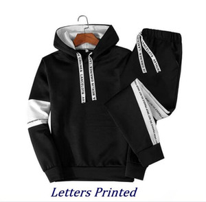 Mens Casual Tracksuits BrandS Letters Printed Sport SuiT Sweatsuits Hommes Jogger Fit Suits Pollover Hooded Hoodies + Long Pants Outfits 21