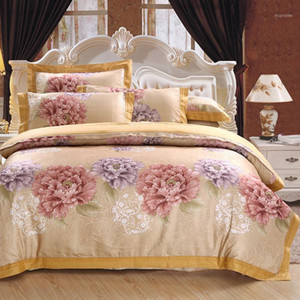 satin jacquard bedding set queen king size bed set gold color 4pcs cotton silk embroidery duvet cover sets bedsheet1