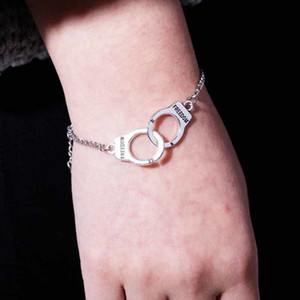 Fashion Sier Color Handcuff Bracelet for Women Men Lock Freedom Charm Link Chain Bracelets Couples Jewelry Valentines Day Gift